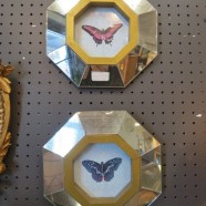SALE! Vintage mirror framed butterfly prints – $160 for the pair
