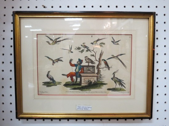 Vintage antique hand colored chinoiserie engraving – $295