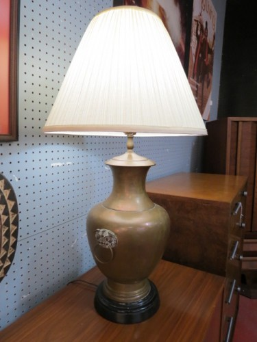 SALE! Vintage antique Chinese brass lamp – $125