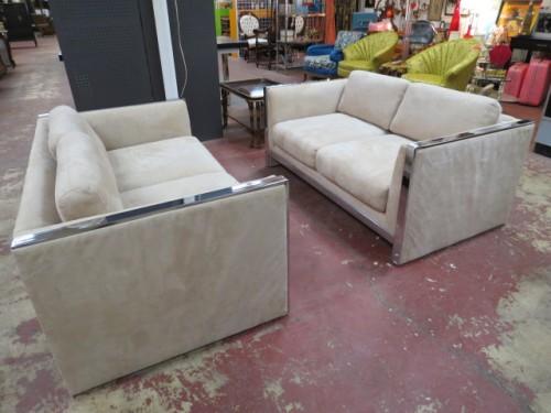 SALE! Vintage mid century modern pair of Milo Baughman loveseats/sofas – $995/pr