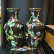 SALE! vintage pair of black ground cloisonné chinese vases – $195/pr
