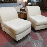 SALE! Vintage antique pair of slipper chairs – $95/pair