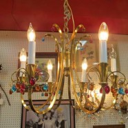 Vintage mid century modern brass and colored crystal 6 arm chandelier – $395
