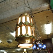 SALE! Vintage mid century modern gold ceramic swag light chandelier – $116