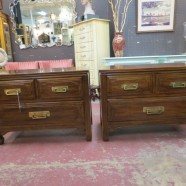 Vintage mid century modern walnut pair of nightstands – $295/pr