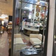Vintage mid century modern chrome framed mirror – $95