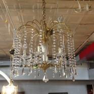 SALE! Vintage mid century modern 6 arm crystal & brass chandelier – $298
