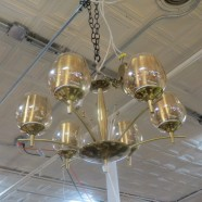 SALE! Vintage mid century modern 6 light brass & glass chandelier – $398