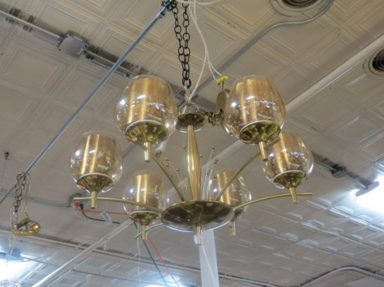 SALE! Vintage mid century modern 6 light brass & glass chandelier – $350