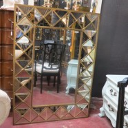 Vintage mid century modern style large mirror with brass frame – $395