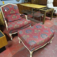 SALE! Vintage antique French style armchair & ottoman – $295/set
