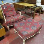 SALE! Vintage antique French style armchair & ottoman – $250/set