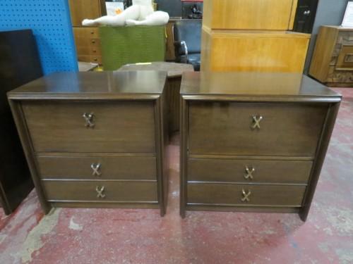 Vintage mid century modern Paul Frankl walnut pr of nightstands – $1200/pr