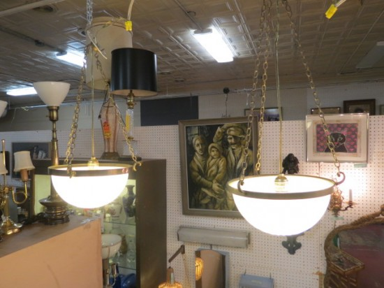 SALE! Vintage antique pair of glass & metal pendant chandeliers – $125/each