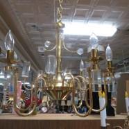 SALE! Vintage mid century modern brass & lucite 6 arm chandelier – $242