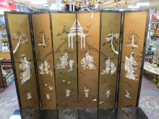 Vintage antique large gold, mother of pearl Chinese six panel screen – $2800
