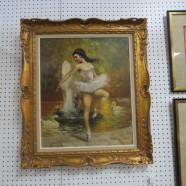 SALE! Vintage antique ballerina oil painting – $195