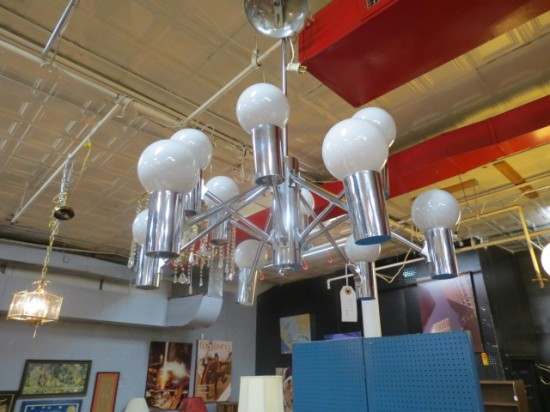 SALE! Vintage mid century modern 12 arm chrome chandelier – $380