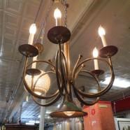 Vintage antique unusual brass 6 arm trumpet chandelier – $199