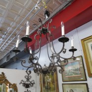 SALE! Vintage wrought iron 6 arm chandelier – $195