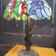 Vintage style stained glass floral & grapes lamp – $295