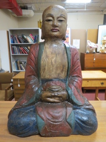 Vintage antique large carved wood Buddha c. 1800s – $695