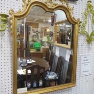 Vintage antique gold gilt carved wood Regency style mirror c. 1900 – $290