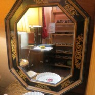 Vintage antique painted wood frame octagonal mirror c. 1800s – $325