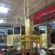 SALE! Vintage mid century modern 6 arm brass & lucite chandelier c. 1960 – $396