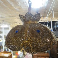 Vintage mid century modern solid brass Moroccan style swag chandelier c. 1960 – $595