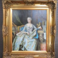 Vintage antique style oil painting of lady reading – $395