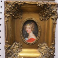 Vintage antique style small oil painting of a young lady – $95
