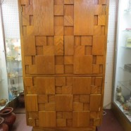 Vintage mid century modern Lane Oak Cubist armoire c. 1960 – $350