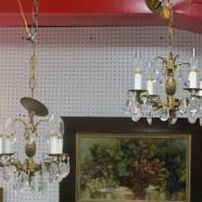 Vintage antique brass & crystal 4 arm chandelier – $450/pr