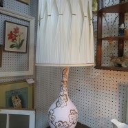 Vintage mid century modern pink and gold tall lamp c. 1960 – $75