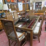 SALE! Vintage mid century modern dark oak and mirror dining table & 6 chairs c. 1960 – $450/set