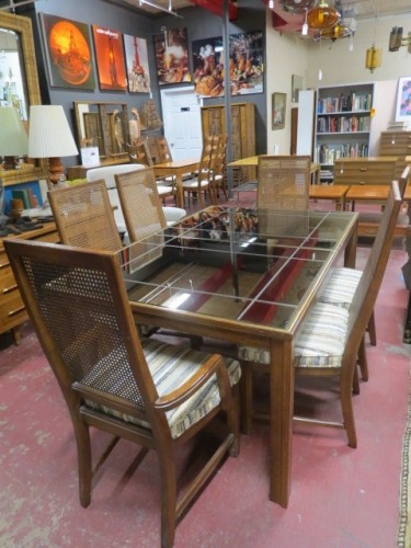 SALE! Vintage mid century modern dark oak and mirror dining table & 6 chairs c. 1960 – $495