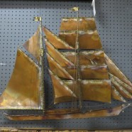 Vintage mid century modern Curtis-Jeré copper ship wall hanging c. 1960 – $395