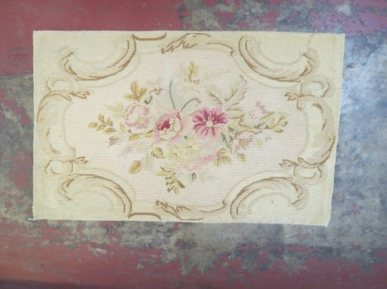 Vintage antique needlepoint French style small rug c. 1920 – $55