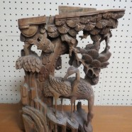 Vintage antique pierced carved wood Chinese crane sculpture c. 1800s – $295