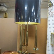 SALE! Vintage mid century modern brass and marble table lamp c. 1960 – $172