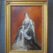 Vintage antique oil painting of a young society lady c. 1800s – $695