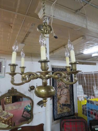 SALE! Vintage antique dark brass 6 arm chandelier c. 1900 – $265