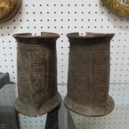 SALE! Vintage antique pair of African Baule copper trade currency bracelets c. 1800s – $295