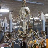 Vintage antique brass and crystal 5 arm chandelier c. 1950 – $295
