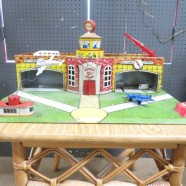 SALE! Vintage antique Superior tin lithograph toy airport c. 1950 – $250