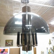 SALE! Vintage mid century modern smoked lucite & chrome 8 arm chandelier c. 1970 – $330
