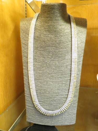 Vintage long sterling necklace with cubic zirconia crystals – $425