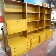 SALE! Vintage Danish modern set of 3 teak bookcase cabinets by Domino Mobler c. 1960 – $895/set