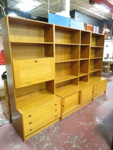 SALE! Vintage Danish modern set of 3 teak bookcase cabinets by Domino Mobler c. 1960 – $995/set